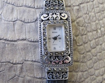 BOMA Sterling Silver Marcasite Wrist Watch. Mother of Pearl Face. 1 Jewel. 1980's Vintage. Quartz Movement. Running Keeps Time. New Battery