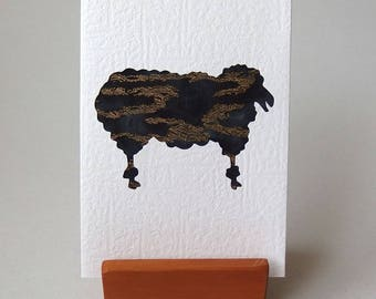 """SHEEP Grey Fabric Card - Woolly Sheep  6"""" x 4"""" with envelope. Blank white Textured Note Card. Ewe Ram card. Baa Baa. gold accents."""