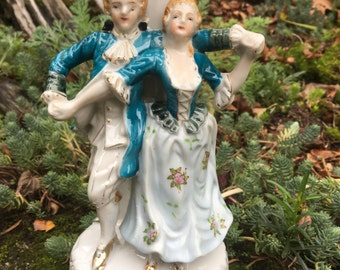 Dancing Couple in Blue Vintage Table Lamp from 1940's or 1950's made in Japan