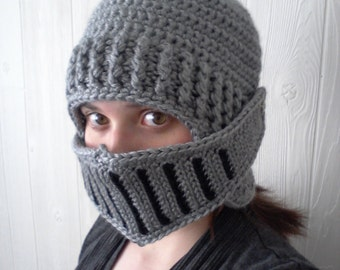 Crochet Knight in Shining Armor Helmet with Face Guard Grill and Plume