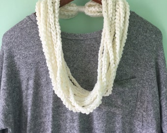 Skinny Scarf - White Scarf Necklace - Thin Scarf - White Chain Scarf - White Infinity Scarf - Braided Knit Scarf - Lightweight Scarf