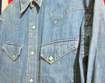 Vintage Sugar Cane Denim Western Chambray Shirt Original Union Made Toyo enterprise