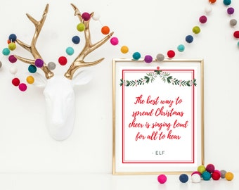 Christmas Wall Art Printable - Elf Movie Printable - Christmas Printable - Elf Movie Quote - Christmas Movie Quote - Christmas Cheer Art