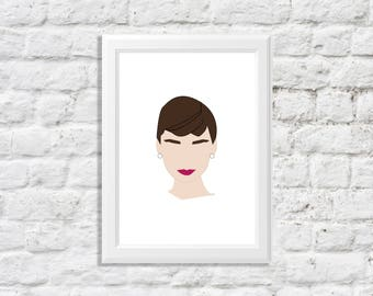 audrey hepburn wall art - audrey hepburn art - audrey hepburn illustration - audrey hepburn artwork - holly golightly art