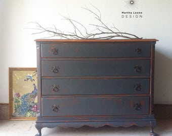 AVAILABLE: Antique Dresser in Dark Natural Gray