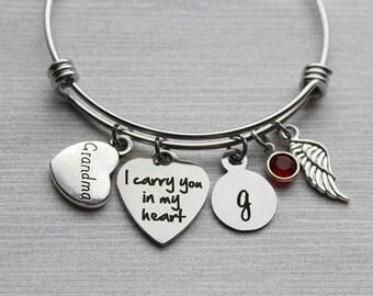 Grandma - I Carry You In My Heart Bracelet, Memorial Grandma Jewelry, Memorial Jewelry, Sympathy Jewelry, Grandma Memorial, Grandma Sympathy