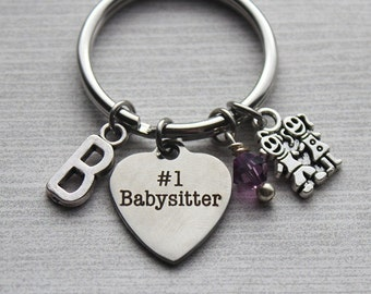 Number One Babysister Keychain, Babysitter Gifts, Thank-you Babysitter Gifts, Babysitter Jewelry, Gifts for Babysitters, Babysitter Thanks