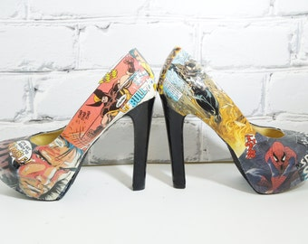 Comic Book Shoes. Size 7. Made to Order. Special Occasions....Prom. Weddings. Cosplay. Date Night.Your Dream Heels.