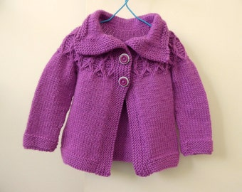 Warm Winter coat, baby girl 6-12 months, pink purple knitted jacket, wool baby knitwear, pink baby girl sweater