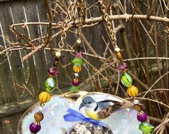 Vintage Bowl Bird Feeder, Recycled Dish Feeder, Repurposed Garden Art, Hanging Planter, Upcycled Ceramic Dish, Potpourri Holder, Home Decor