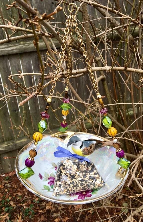 Repurposed bowl bird feeder dish feeder garden art hanging for Garden art from old dishes