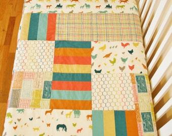 Organic Baby Quilt,  Organic Toddler Quilt, Modern Quilt, Farm Fresh, Farm Animals, Chickens, Barnyard