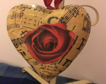Love's Sweet Music Handmade Decoupage Puffy Heart Valentine's Day Ornament