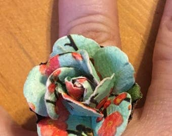 Japanese Blossoms Handmade Recycled Bottlecap and Paper Rose Antique Brass Adjustable Ring