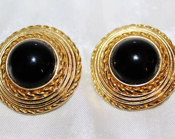 SALE! Vintage Paris French Couture Large Black Poured Glass Textured Earrings E23