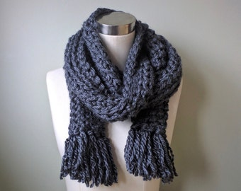 Thick Gray Scarf . Hygge . Over-sized Scarf . Fringe Scarf . Crochet Scarf . Thick Scarf . Bulky Scarf . Chunky Scarf . Extra Large Scarf
