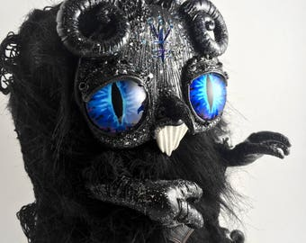 Mr.Sky the flumpkin // horror moonlight creepy creature rune sigil evil ooak art doll fluffy
