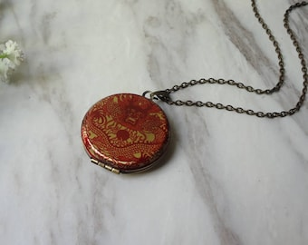 Red Chinese Dragon  Brass Picture Locket Pendant Necklace 0298