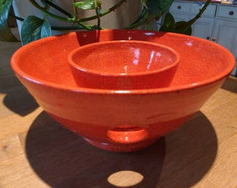 Large Pottery Yarn Bowl Porcelain UK Knitting Bowl Handmade  - Deep orange/red Raku effect - comes with a matching dish for stitch markers