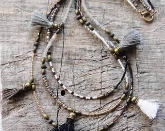 Bohemian Multi Layer Tassel Necklace Bohemian Dreams, Grey, Black and White, Glass and Brass with Tassels