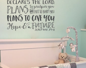 Jeremiah 29:11 For I know the plans I have for you, Explorer Nursery, arrows, mountains, Vinyl wall decal Nursery Tribal JER29V11-0043