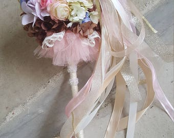 Peach Blush Brown Tutu Flower Girl Pom Wand Custom Order
