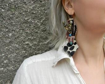 Mismatched earrings African fabric earrings Huge TRIBAL earrings Bold funky earrings Extra long dangle earrings Asymmetrical earrings