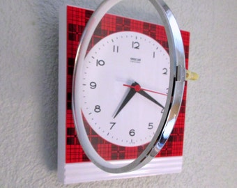 Vintage German 1960s GONG Red Tartan Wall Clock - New Old Stock - Never Used  -  Perfect Working Order-Mid Century Decor Chic - RARE FIND