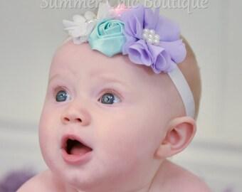 Baby Headband, Easter Baby Headband, Infant Headband, Newborn Headband, Pastel Baby Headband, Pink Headband, Aqua Headband, Easter Headband