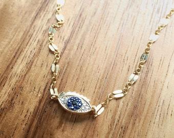 Ku'uaki Necklace - Gold Evil Eye Necklace, Protection Necklace, Evil Eye Necklace, Hamsa Necklace, Blue Eye Necklace, Hawaii Jewelry, Maui