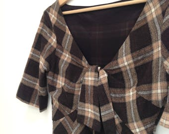 Vintage 80s Dress / 1980s Dress (Vivienne Westwood style) check plaid Day or Evening Dress