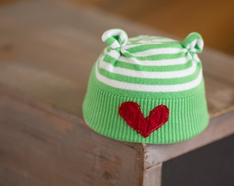 Newborn Christmas Hat Upcycled Green and White Striped Bear Hat with Red Heart Newborn Photography Prop Newborn Boy Hat Ready to Ship Beanie