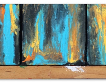 3 Mini 4 x 4 Acrylic Paintings on Canvas, Abstracts, Native American Inspired, Home Decor, Wall Art