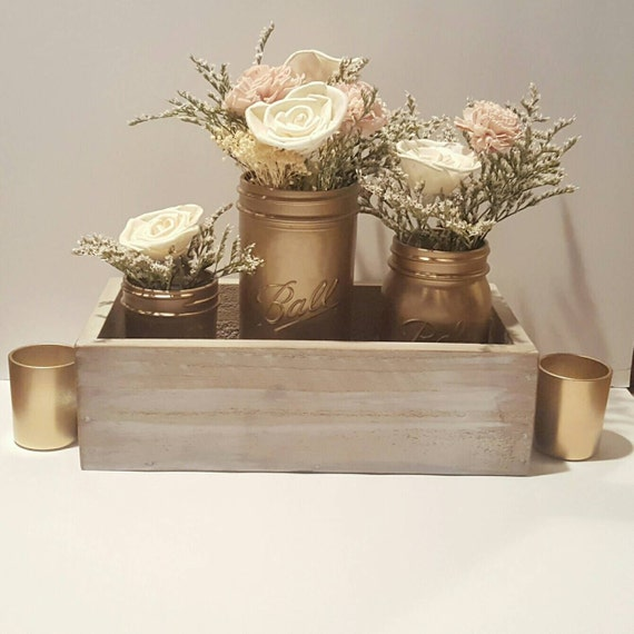 Complete centerpiece set wooden box gold by stelladesignsshop
