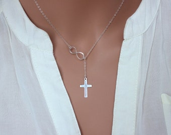 Cross Lariat Necklace, Sterling Silver Infinity Cross Neckalce, Cross Neckalce,Infinity Cross Lariat Neckalce,Cross Infinity Lariat Necklace