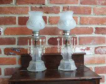 Vintage Decorative Globe, Glass Electric Dresser Lamps with Hanging Icicles
