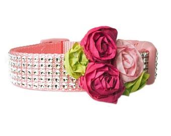 Taffeta Rolled Rosette Dog Collar Flower Accessory