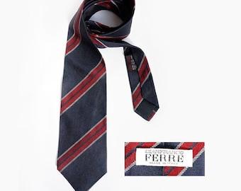 Authentic Gianfranco FERRE necktie, Haute Couture Designer Men Tie ,Vintage Silk Necktie,Gift for men.