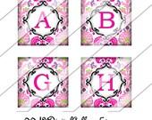 Pink Damask Alphabet, Digital Collage Sheet, One Inch Squares, Instant Download, Custom Letter, Squares, Digital Image, Personalized Collage