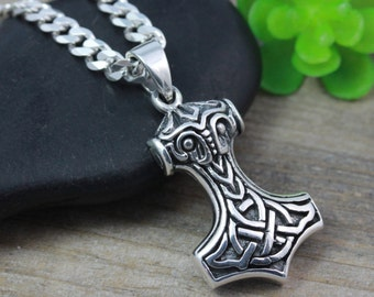 Sterling silver Thor Hammer necklace, Celtic Protection Men's necklace. Celtic Knot Thor hammer. Choose Necklace chain, R5358