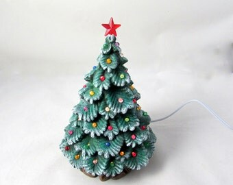Ceramic Christmas Spruce Tree - 8 inches with base-hand made Spruce tree with light kit