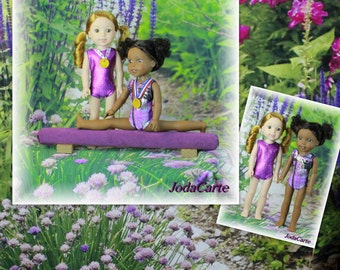 Purple Plaid with Gold Scribbles and Purple Mystique Doll Leotards, Medals & Purple Beam - WellieWishers Dolls
