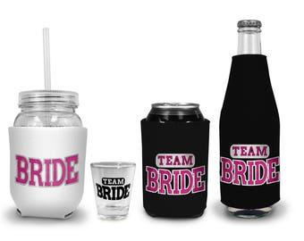 Bachelorette Party Favors - Team Bride & Bride Can Holders, Bride Team Gifts, Bachelorette Party Supplies, Bachelorette Party shot glasses