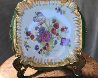 Hand-painted, Vintage China Trivet with Flower Motif and Gold Accent