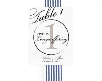 1 Corinthians 13 Script Table Numbers Christian Wedding