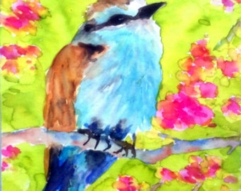 Watercolor Bird Painting Floral Gift for Her Nature Watercolor Flowers Painting Small Art Bright Bird Grandma Gift Unique Aquarelle Art