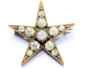 Antique Victorian Gold Coloured Sparkly Rhinestone Diamante Paste Stones Sparkly Star Brooch (c1800s)