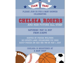 Sports Baby Shower Invitations - All Star - Sports Invitation - Emailed to You in 1 Business Day or Less