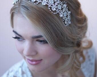 Rhinestone Bridal Headband, Crystal Wedding Headband, Opal Headband, Bridal Headpiece, Crystal Headband, Bridal Hair Accessory ~TI-3277