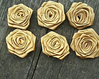 "2"" Satin Rolled Roses-Ribbon Roses-Rolled Rosettes- Handmade Gold Satin Flowers, Set of 6 for DIY Hair Accessories or other DIY project"
